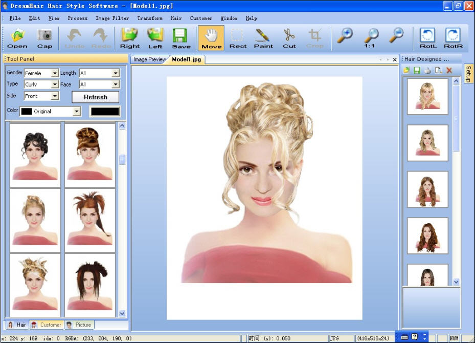 DreamHair is hairstyle imaging and design software