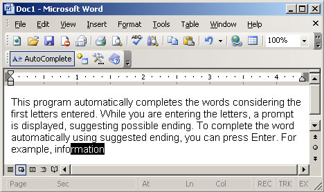 Autocomplete For Word Automatically Adds New Words To