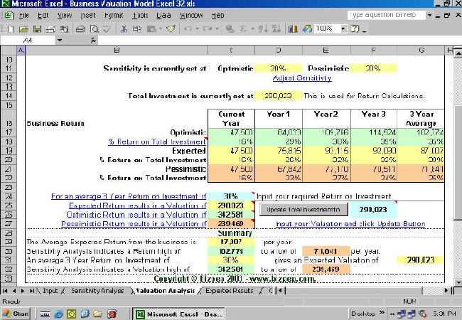 Business Valuation Model for Excel is a business valuation