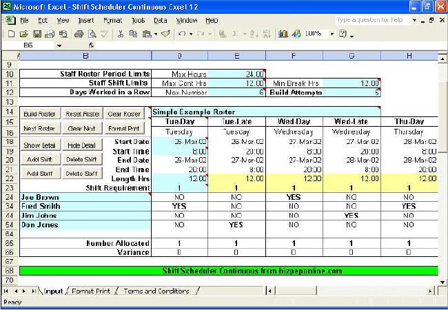 work scheduler excel
