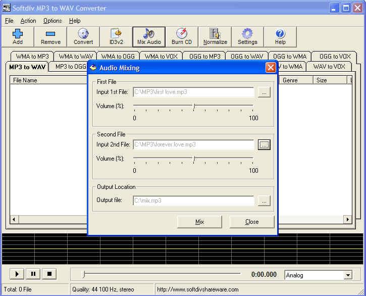 Softdiv MP3 to WAV Converter - Audio CD Burning Converter