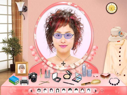 try on different hairstyles and colors, and get a virtual makeover.